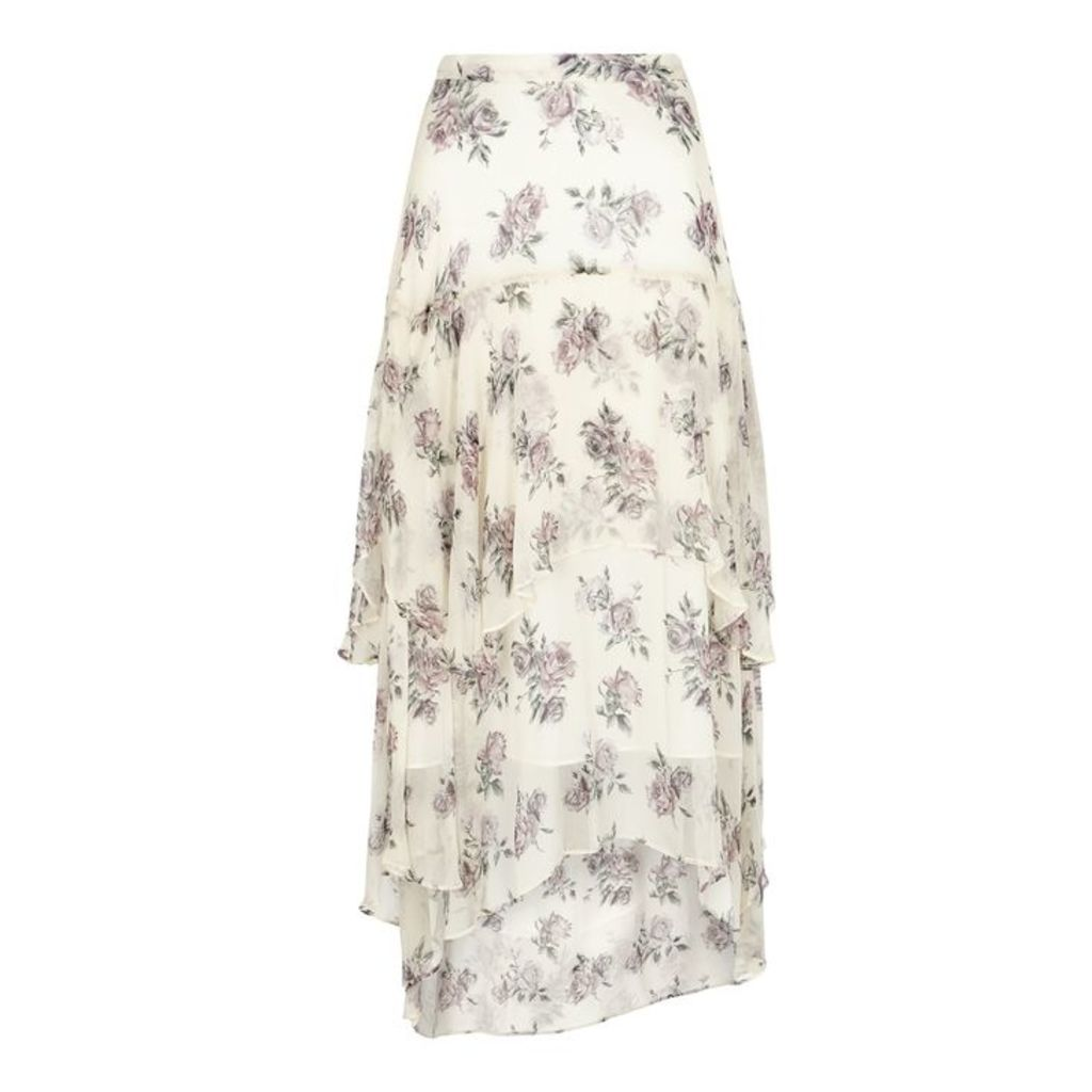 LoveShackFancy Alex Printed Silk Midi Skirt