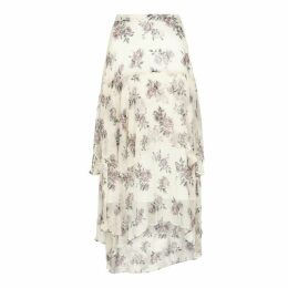LoveShackFancy Alex Printed Silk Midi Skirt