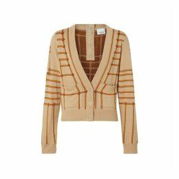 Burberry Rope Silk Wool Jacquard V-neck Cardigan