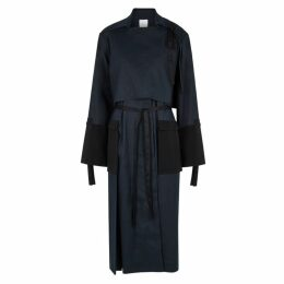 Rosetta Getty Navy Panelled Cotton-blend Trench Coat