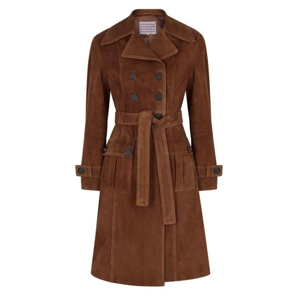 ALEXACHUNG Dark Brown Suede Trench Coat