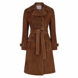 ALEXACHUNG Dark Brown Suede Trench Coat