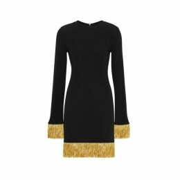 Burberry Metallic Fringe Detail Stretch Jersey Dress