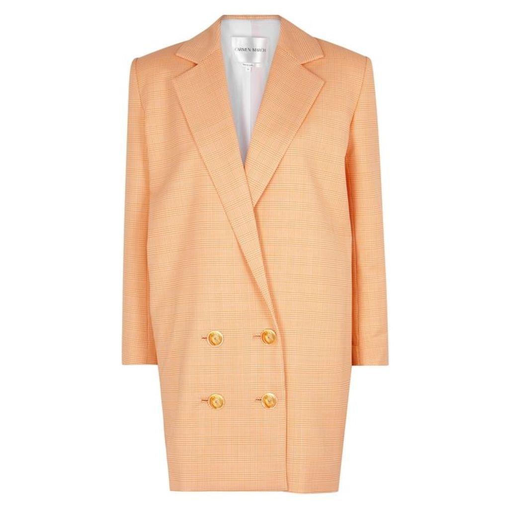 Carmen March Checked Stretch-wool Mini Blazer Dress