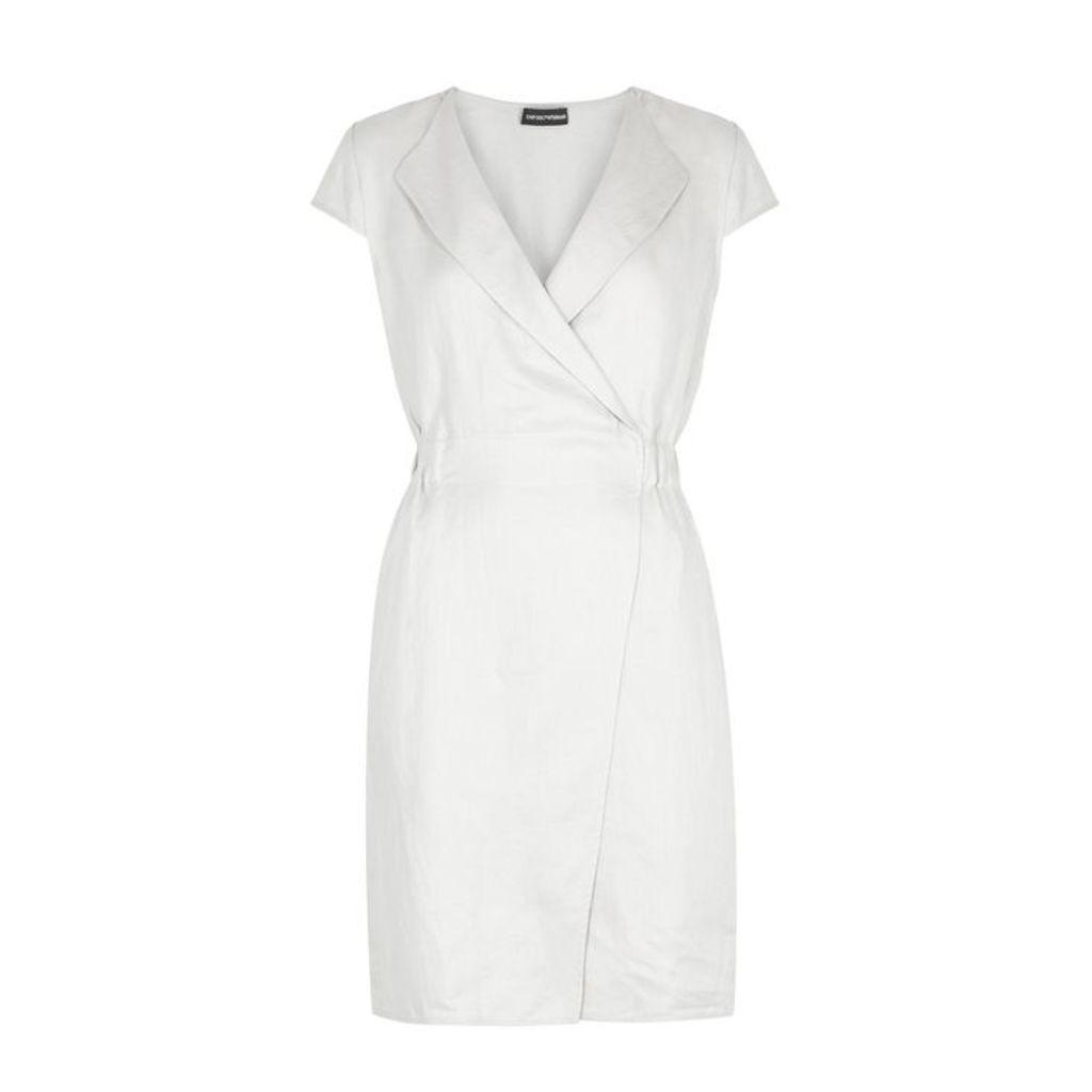 Emporio Armani Stone Linen Wrap Dress