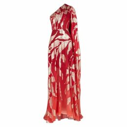 Peter Pilotto Red Jacquard Silk-blend Gown