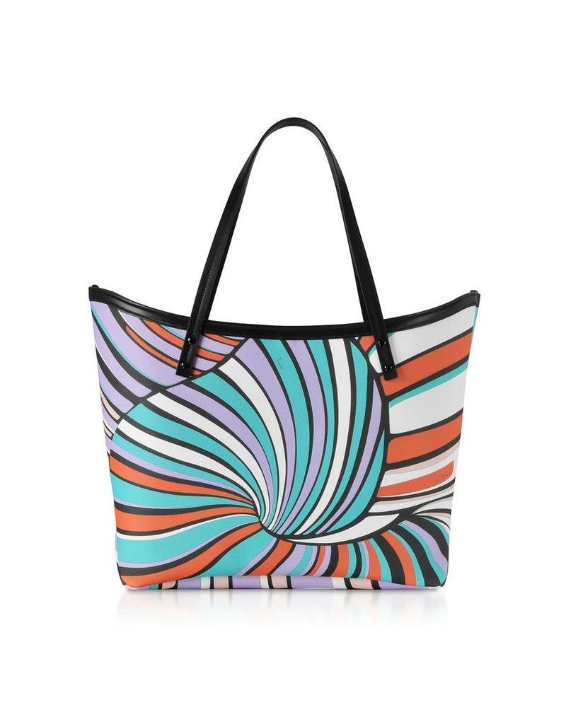 Emilio Pucci Lilac And Aqua Tote Bag W/pouch