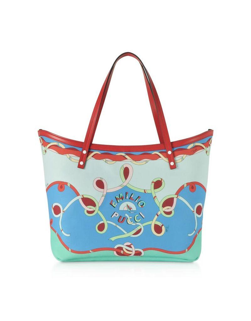 Emilio Pucci Cornflower Tote Bag W/pouch