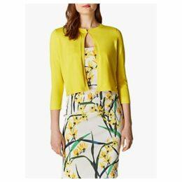 Karen Millen Open Front Three-Quarter Sleeve Cardigan, Yellow