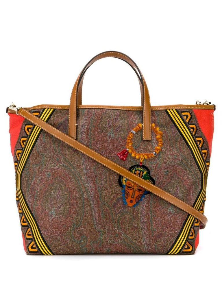 Etro Embroidered jacquard paisley tribe shopper bag - Brown