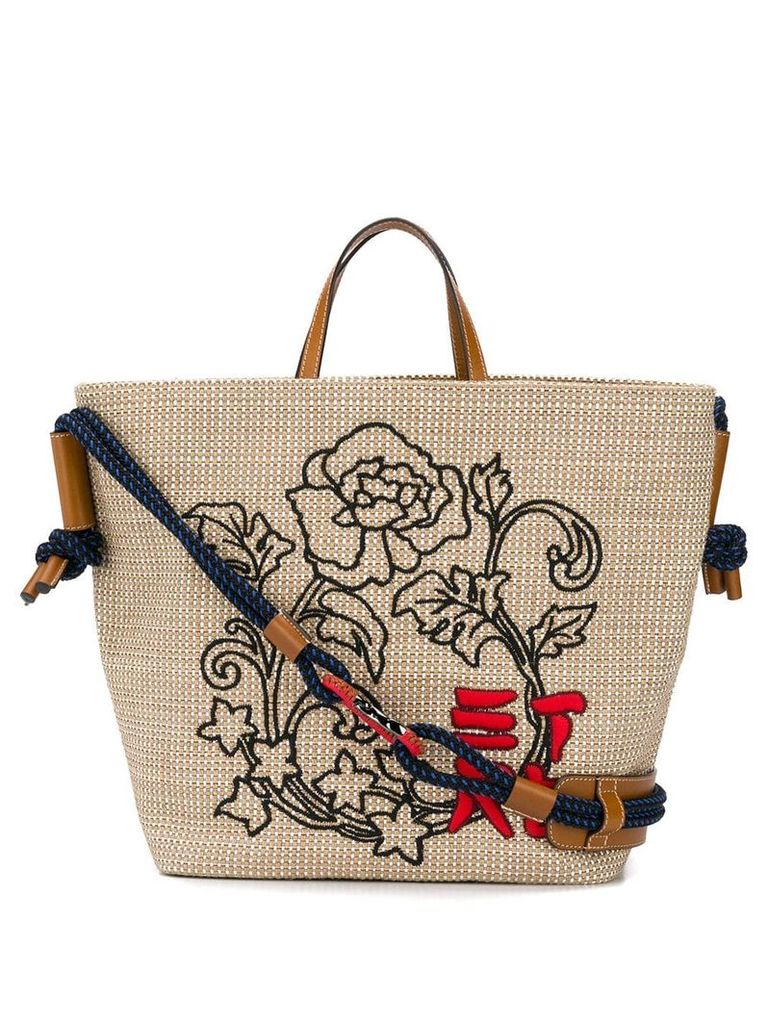 Etro embroidered woven tote - Neutrals