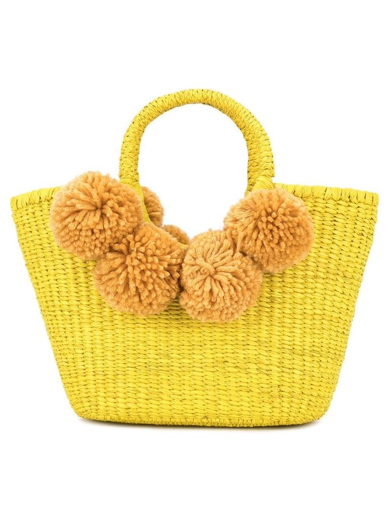 Sensi Studio pompoms tote bag - Yellow