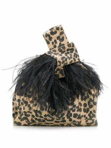 Simonetta Ravizza Furrísima tote with feathers - Brown