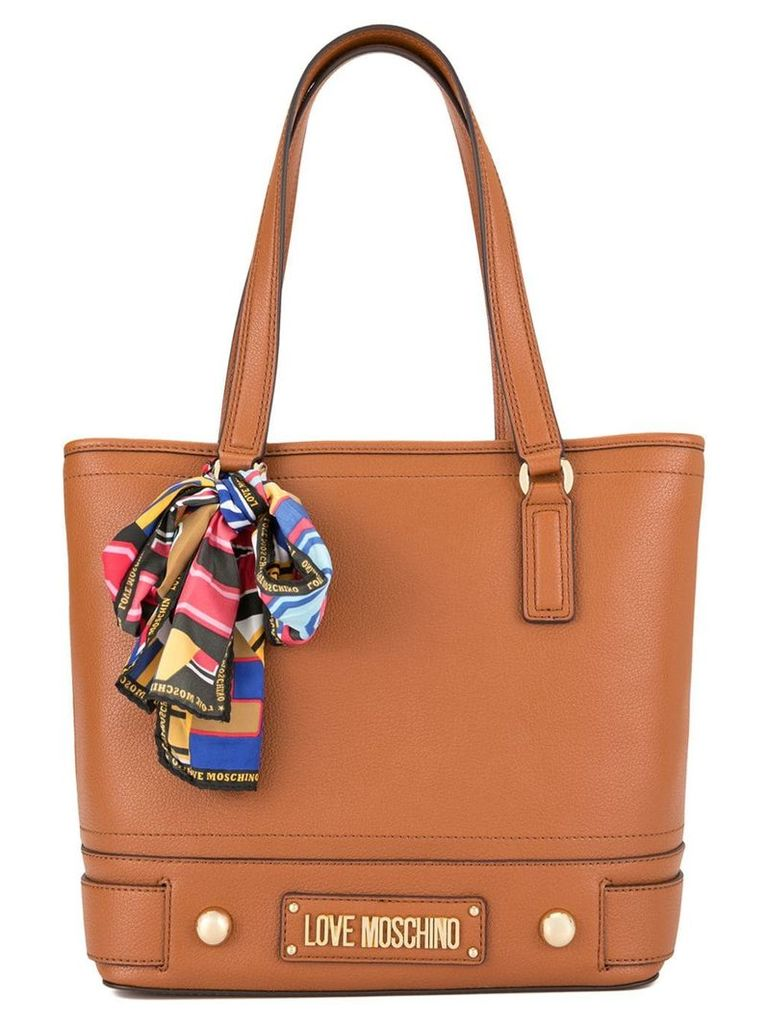 Love Moschino scarf detail tote bag - Brown