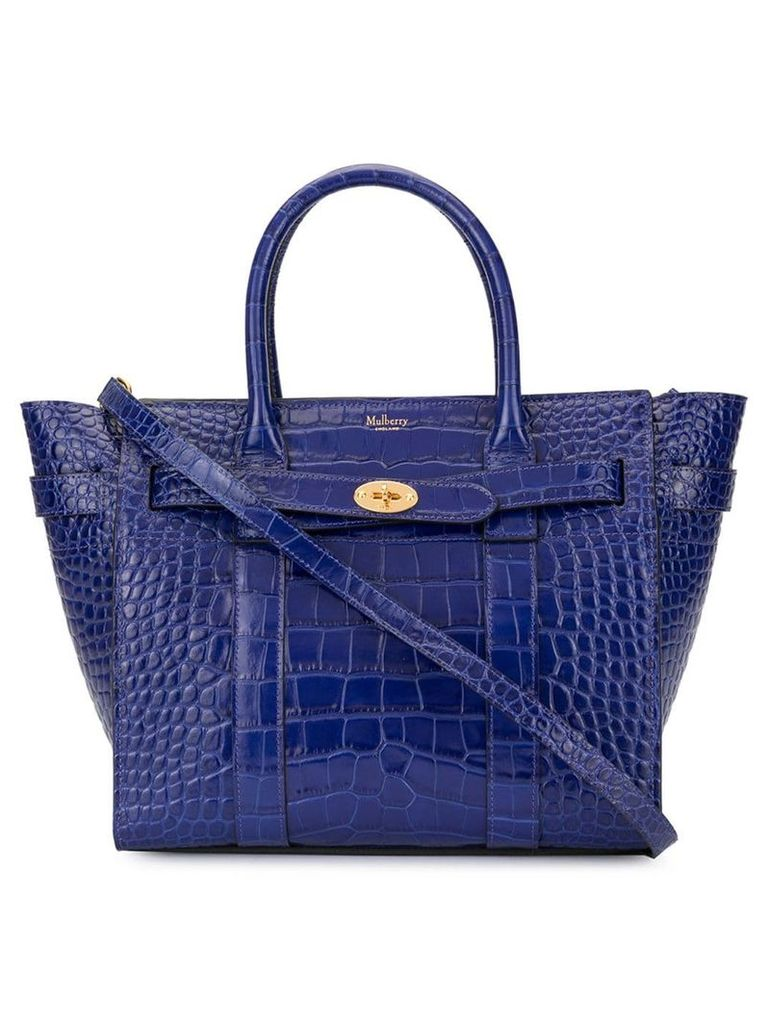 Mulberry Mini Zipped Bayswater Croc Print bag - Blue