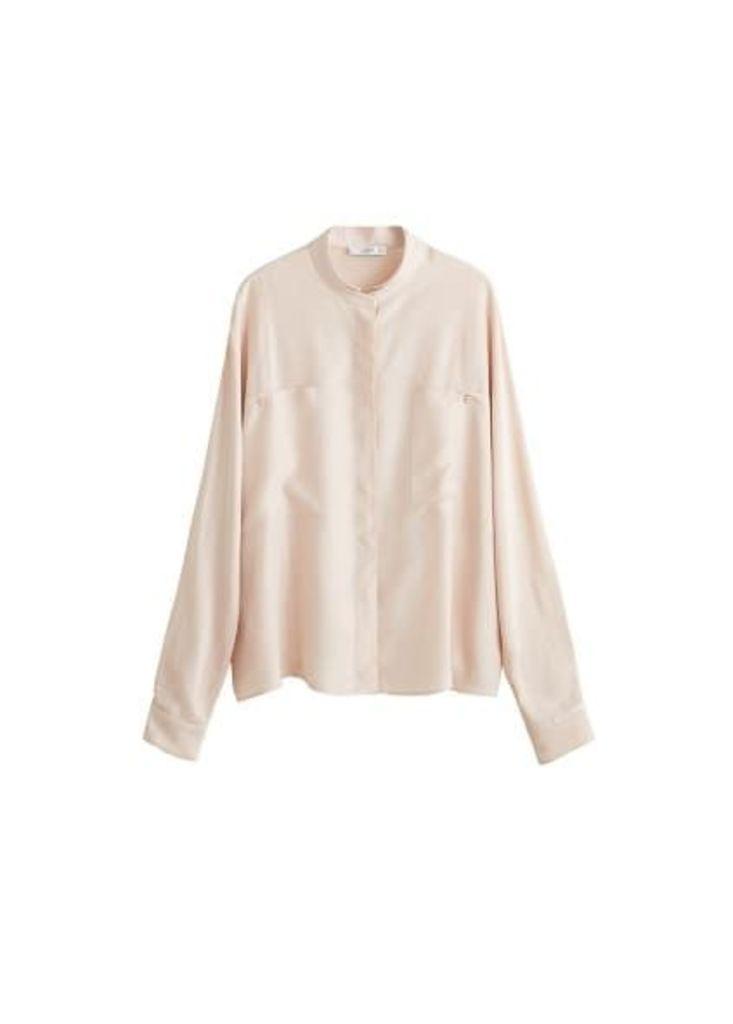 Chest-pocket satin blouse