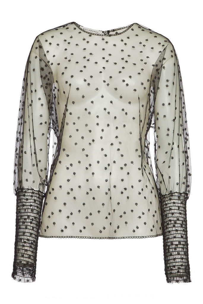 Philosophy di Lorenzo Serafini Embroidered Sheer Blouse