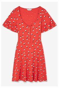 Womens Miss Selfridge Polka Dot Frill Sleeve Tea Dress -  Red