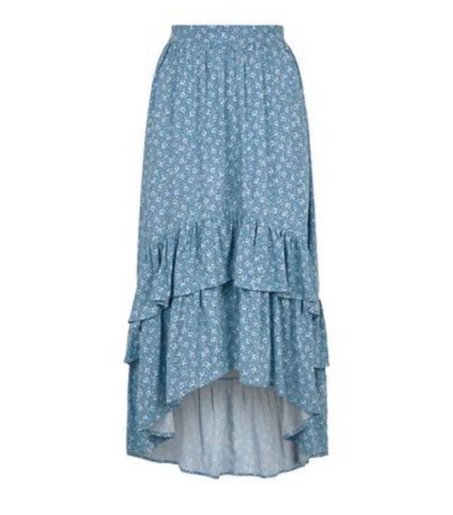 Blue Ditsy Floral Tiered Dip Hem Midi Skirt New Look