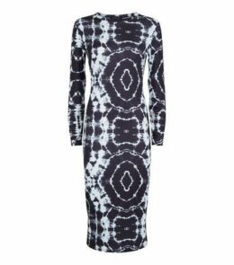 Black Tie Dye Jersey Bodycon Midi Dress New Look