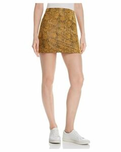 Honey Punch Snake-Print Faux Suede Skirt