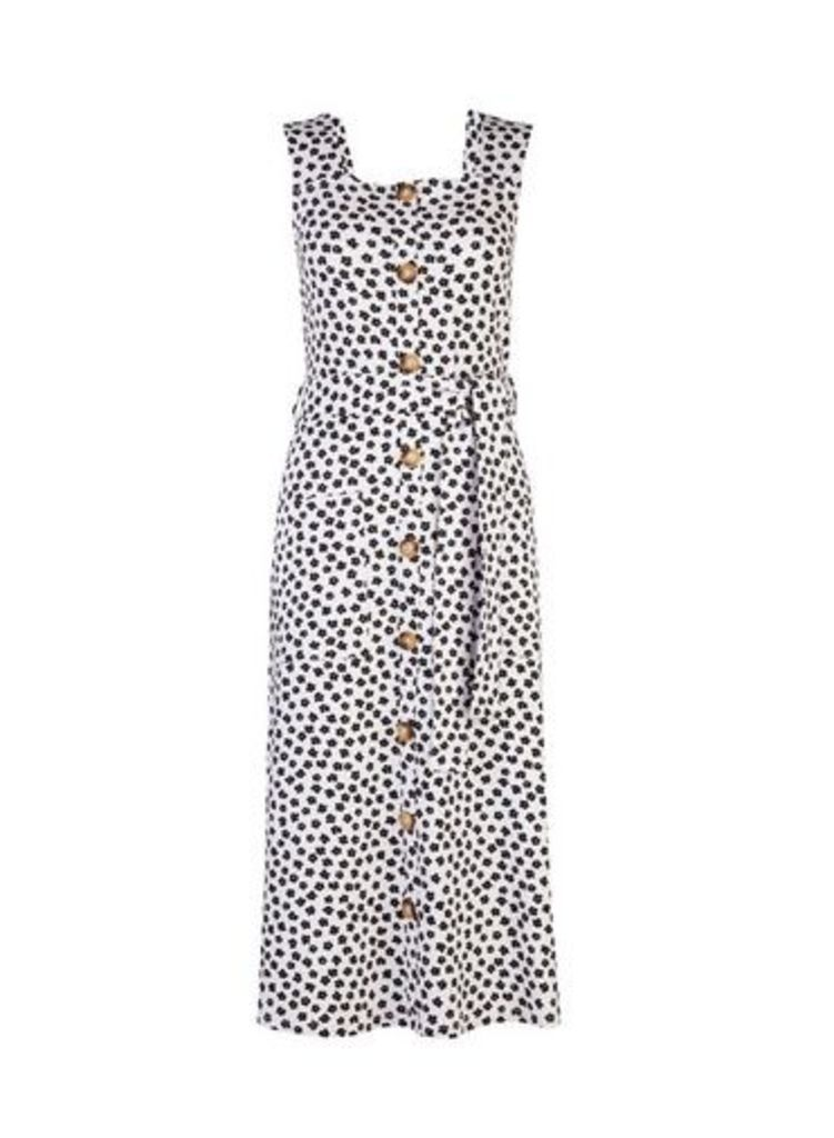 Womens Monochrome Printed Button Detail Midi Shift Dress- Black, Black