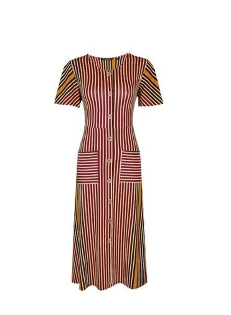 Womens Red Striped Button Midi Dress- Red, Red