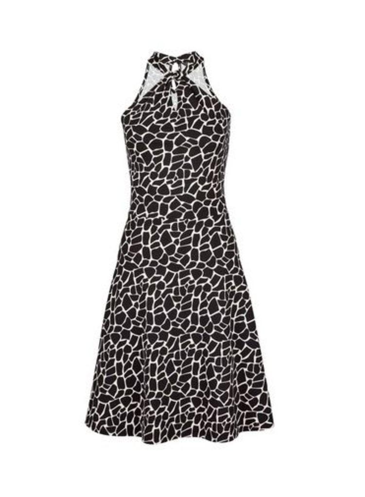 Womens Black Giraffe Print Twist Neck Fit And Flare Dress- Black, Black