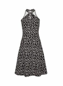 Womens Black Giraffe Print Twist Neck Fit And Flare Dress- Black, Black