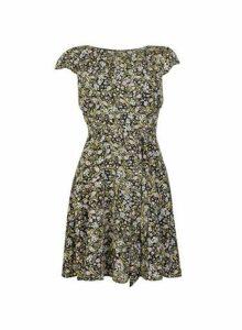 Womens **Billie & Blossom Petite Multi Coloured Floral Print Belted Dress- Black, Black
