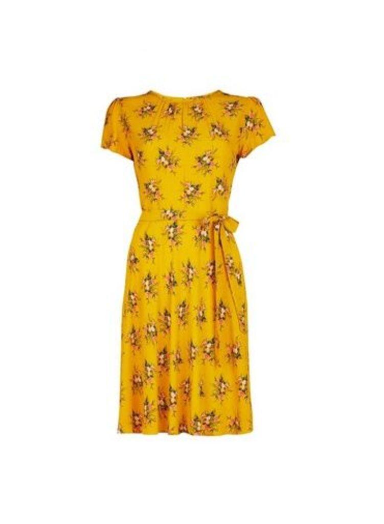 Womens **Billie & Blossom Yellow V-Neck Cluster Skater Dress- Yellow, Yellow