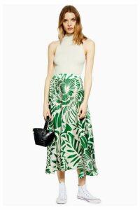 Womens Graphic Print Full Circle Midi Skirt - Green, Green