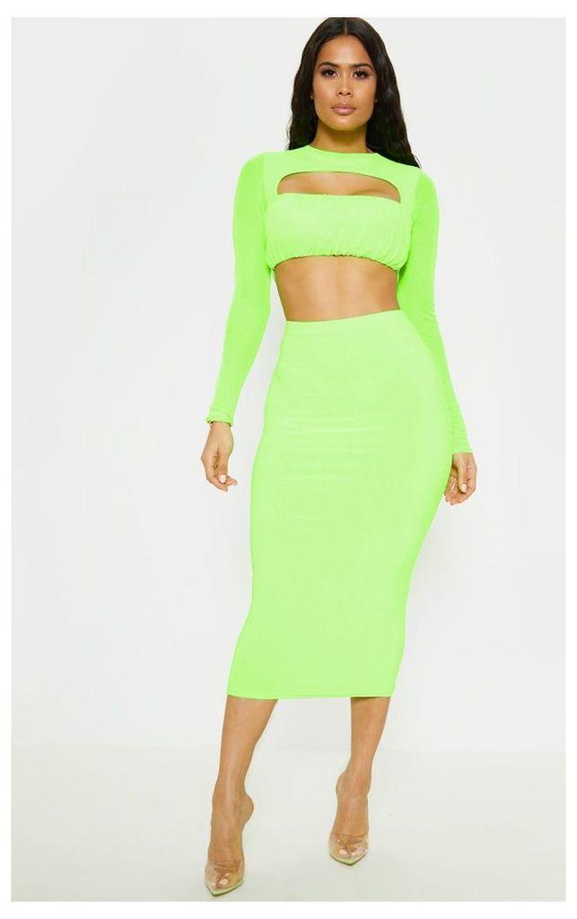 Neon Lime Slinky Midaxi Skirt, Neon Lime
