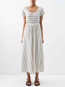 Three Graces London - Ninetta Open Back Linen Maxi Dress - Womens - Navy