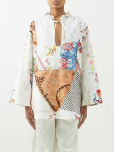 Thierry Colson - Tiffen Cotton Poplin Shirtdress - Womens - Blue