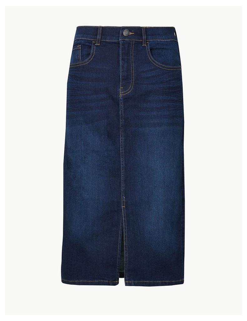 M&S Collection Authentic Split Front Denim Skirt
