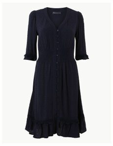 M&S Collection Dobby Button Front Waisted Dress