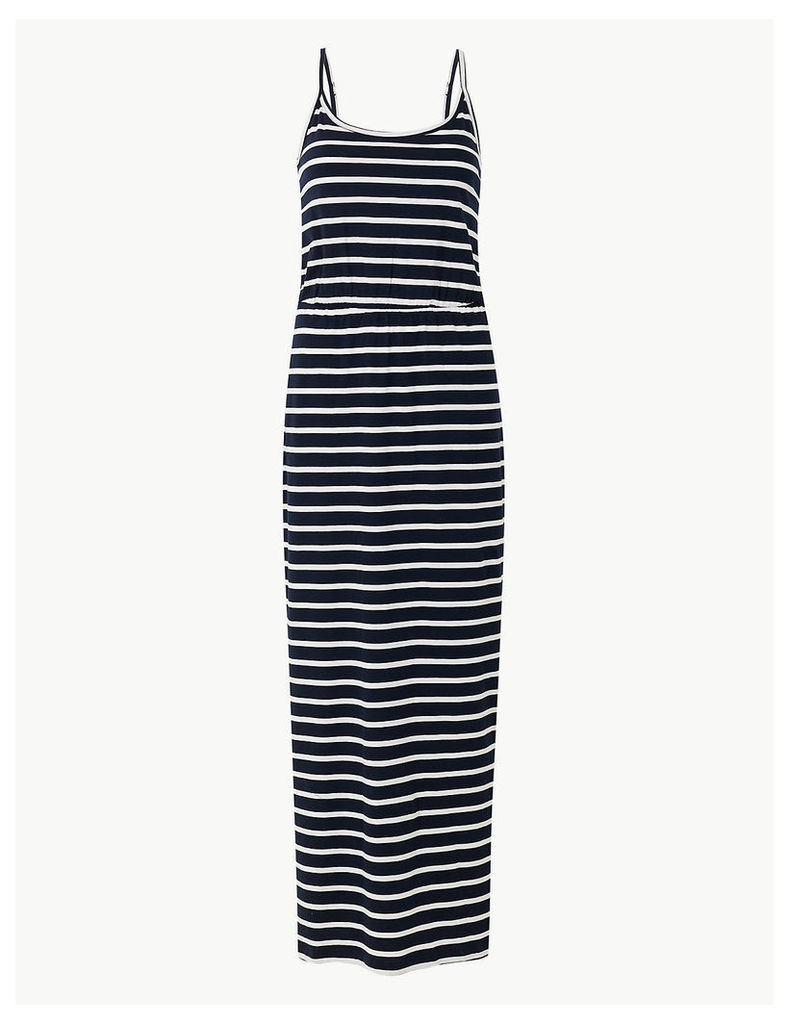 M&S Collection Pure Cotton Striped Waisted Maxi Dress