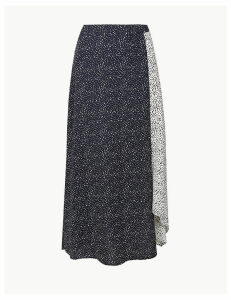 M&S Collection Polka Dot Asymmetric Midi Skirt