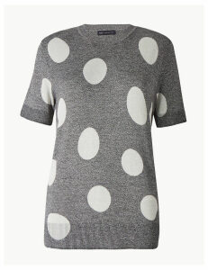 M&S Collection Polka Dot Round Neck Knitted Top