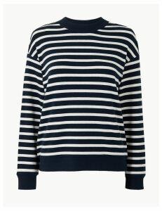 M&S Collection Striped High Neck Regular Fit Sweatshirt