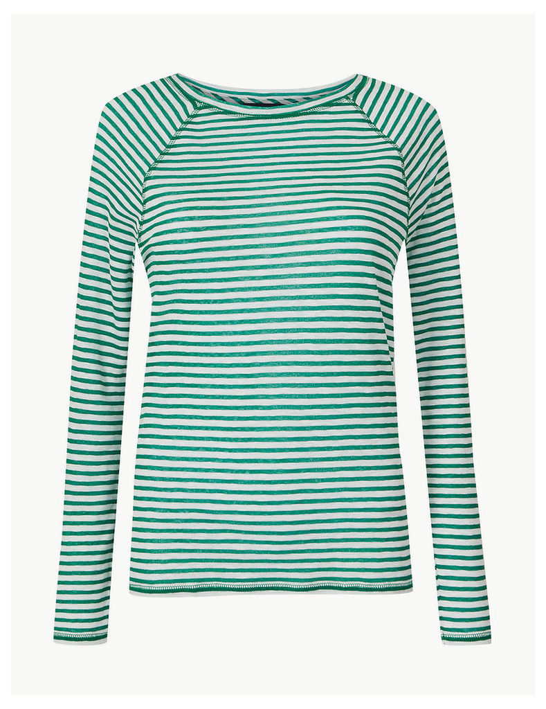 M&S Collection Striped Round Neck Long Sleeve Top