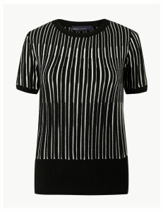 M&S Collection Striped Round Neck Short Sleeve Knitted Top