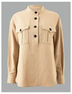 Autograph Button Detailed Shirt with Linen