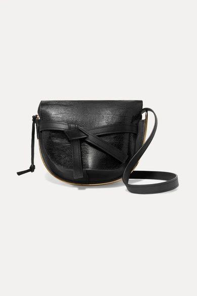 Loewe - Gate Medium Smooth And Lizard-effect Leather Shoulder Bag - Black