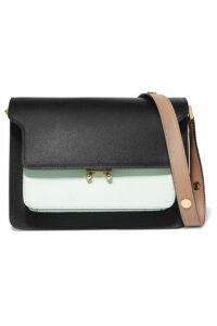 Marni - Trunk Small Color-block Textured-leather Shoulder Bag - Black