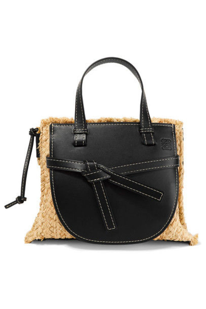 Loewe - Gate Small Leather And Raffia Tote - Black