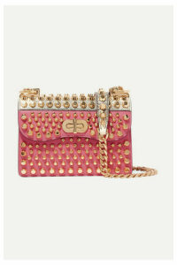 Prada - Belle Studded Leather And Lizard Shoulder Bag - Pink