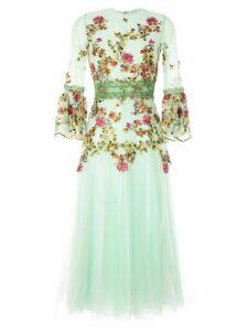 Costarellos embroidered midi dress - Green