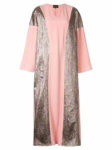 Dima Ayad panelled metallic maxi dress - Pink